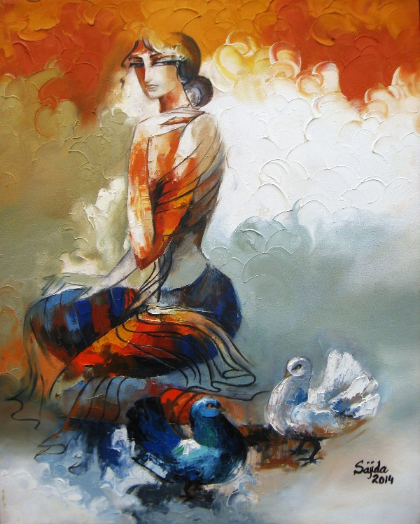 paintings in pakistan Abstract art figurative oil painting by sajida hussain