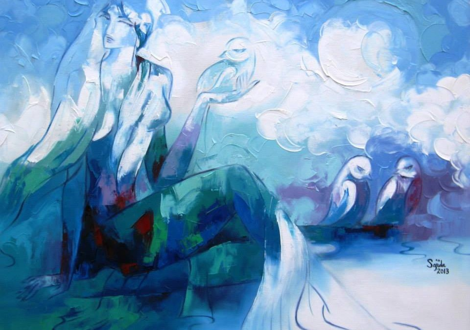 Abstract Paintings Blue Figurative Pakistani Art