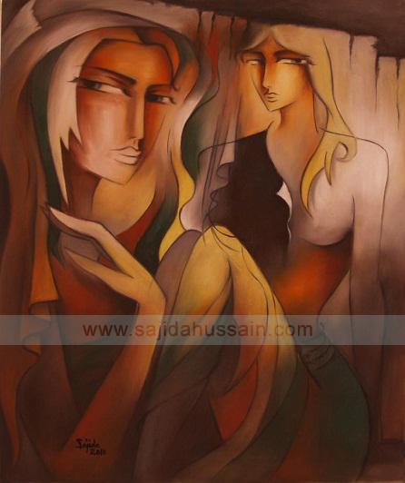 Figurative original oil painting by Sajida Hussain Islamabad
