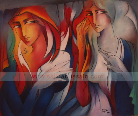 Figurative original oil painting on canvas by Fine Artist Sajida Hussain Lahore best paintings in Pakistan
