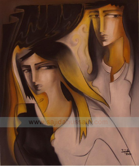 Yellow and grey Figurative painting on canvas by Artist Sajida Hussain Islamabad, Lahore, Karachi, Pakistani Art gallery