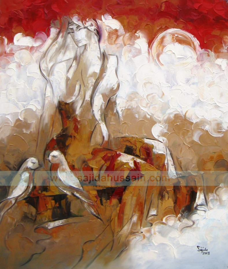 Figurative original oil painting on canvas by Fine Artist Sajida Hussain Islamabad