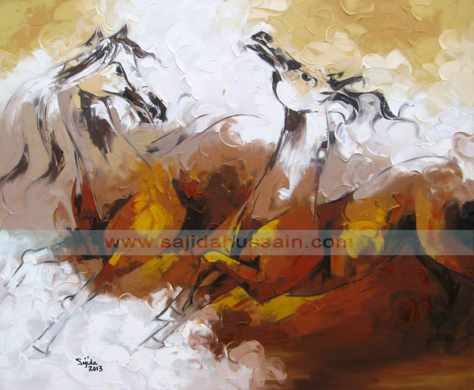 pakistan art London, fine artist of Pakistan, list of pakistani artist, Horse original oil painting on canvas by Fine Artist Sajida Hussain 2013 Islamabad, Lahore, Karachi, Pakistan, Art Exhibition Pakistan, art shows, art classes, art class, modern art, wall art, contemporary art, best Art in Islamabad Pakistan, dubai art gallery, horse painting dubai, fine arts dubai