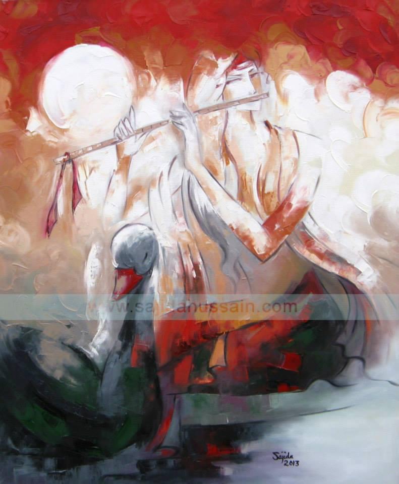 Figurative modern painting by Sajida Hussain Islamabad, Lahore, Karachi, Pakistan Art Gallery
