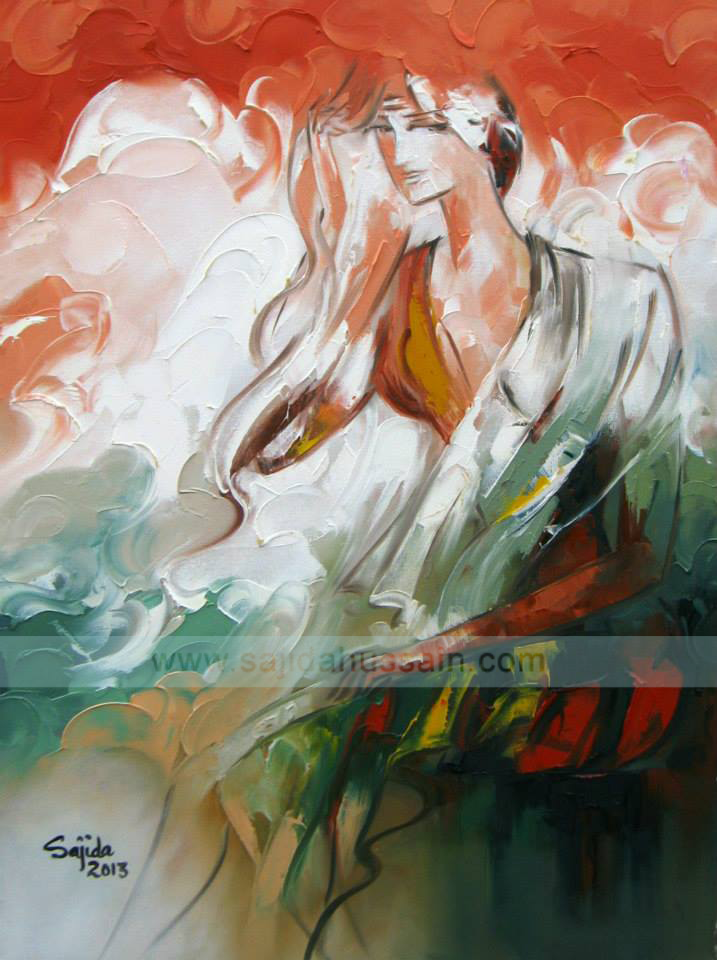Figurative original oil painting on canvas by Pakistani Fine Artist Sajida Hussain Islamabad, pakistan art today, Lahore, Karachi, Pakistan, Art Exhibition Pakistan, art shows, art classes, art class, modern art, wall art, contemporary art, best Art in Islamabad Pakistan