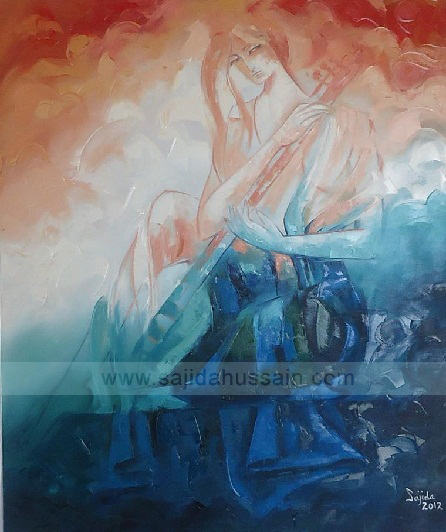 art now Pakistan, Figurative oil painting on canvas by Pakistani Fine Artist Sajida Hussain Islamabad, Lahore, Karachi, Pakistan, Art Exhibition Pakistan, fine artist of Pakistan, art class, best paintings in Pakistan, fine arts pakistan gallery