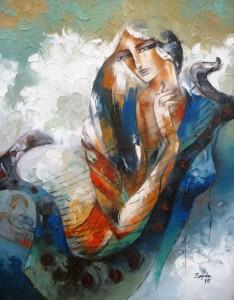 figurative oil painting-Oil-on-Canvas by pakistani fine artist sajida hussain