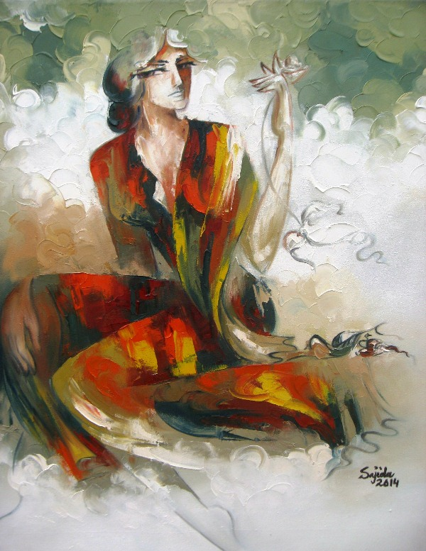 Modern abstract figurative oil painting on canvas by Pakistani artist Sajida hussain