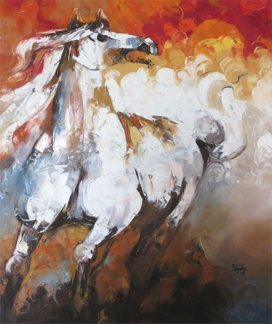 Horse oil Painting with pallet knife by sajida hussain fine art tips