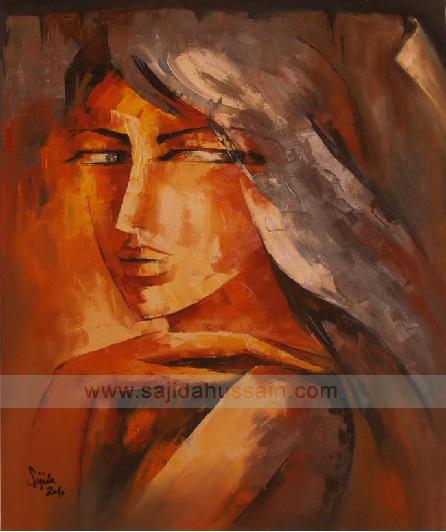 Creative portrait painting on canvas by Artist Sajida Hussain Islamabad, Lahore, Karachi, Pakistani Art gallery
