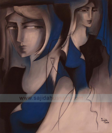 Blue and grey contemporary Figurative painting by Artist Sajida Hussain Islamabad Art gallery Pakistan