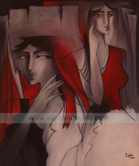 Figurative oil painting on canvas by Fine Artist Sajida Hussain Karachi Art Exhibition Pakistan