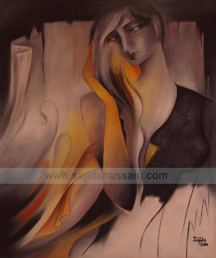 Abstract Paintings Portrait by Fine Artist Sajida Hussain Islamabad Art Gallery Pakistan