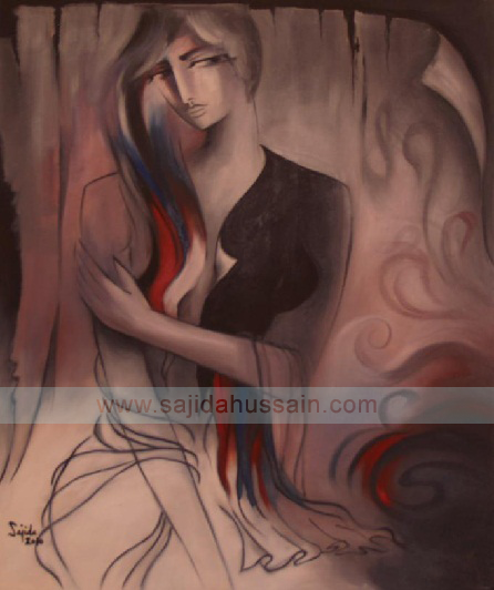 Grey Abstract Paintings Figurative by Fine Artist Sajida Hussain Lahore Art Gallery Pakistan