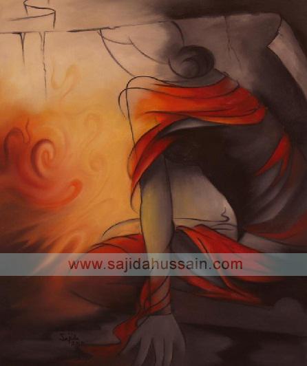 Pakistani Art Abstract Painting Figurative by Fine Artist Sajida Hussain