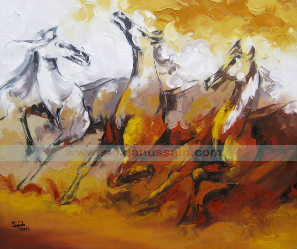 original horses oil painting on canvas by sajida hussain by Pakistani artist Karachi Pakistan, dubai art gallery, horse painting dubai, fine arts dubai