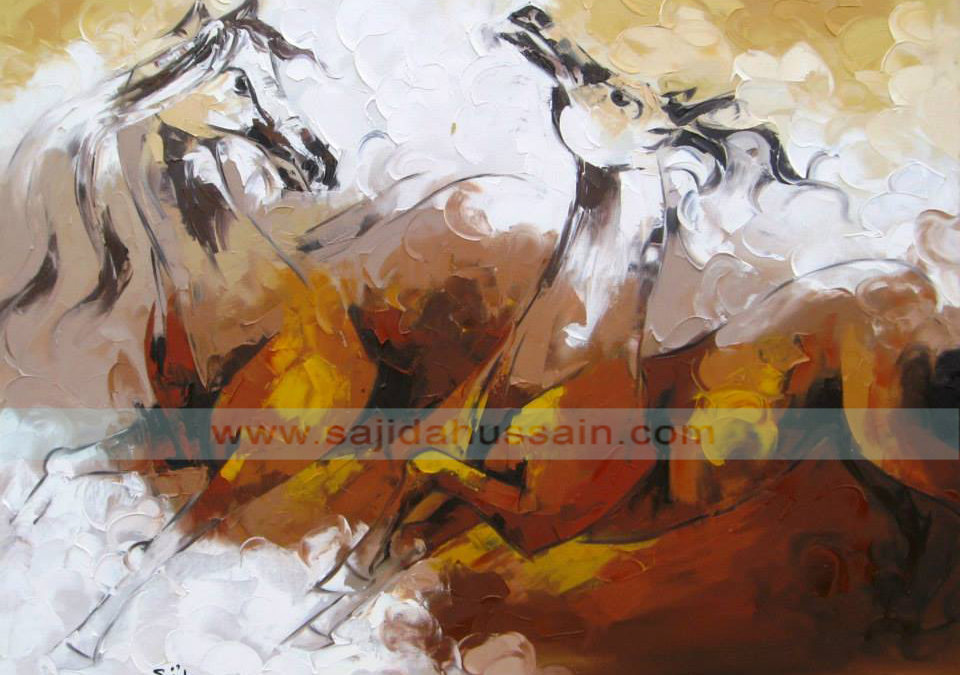 Horse oil painting on canvas by Pakistani Fine Artist Sajida Hussain Islamabad, Lahore art, Karachi art, Pakistani artists paintings, art for sale, art classes, contemporary art, best Art in Islamabad Pakistan,Fine arts Pakistan, dubai art gallery, horse painting dubai, fine arts dubai, art dubai, paintings for sale
