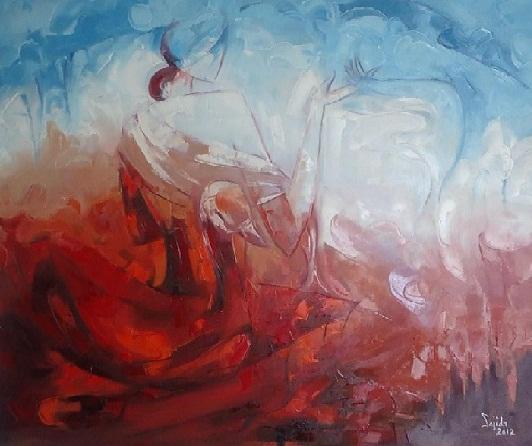 Figurative original oil painting on canvas by Fine Artist Sajida Hussain 2012 Islamabad, Lahore, Karachi, Pakistan, Art Exhibition Pakistan, art shows, art classes, art class, modern art, wall art, contemporary art