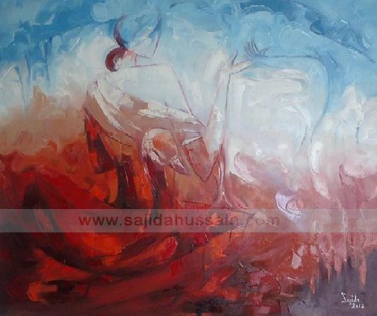 Pakistani artist Figurative oil painting in islamabad