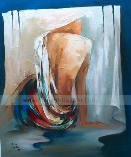 Female Figurative in Drapes Oil Painting on Canvas Pakistani Art