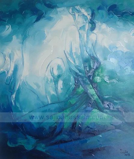Figurative oil painting on canvas by Pakistani Fine Artist Sajida Hussain Islamabad, fine artist of Pakistan, Karachi, Art gallery Pakistan, art shows, art classes, art class, modern art, wall art, contemporary painting, Pakistani art in pakistan