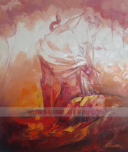 Pakistani artist Figurative original oil painting on canvas by Fine Artist Sajida Hussain Islamabad art, Lahore art, Karachi art, Pakistan art, Art gallery Pakistan, paintings for sale, Abstract oil painting, art class, modern art, wall art, contemporary art, best Art in Islamabad Pakistan