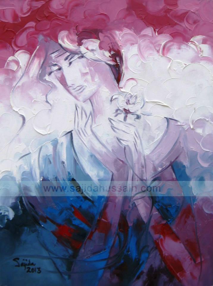 Figurative original oil painting by Fine Artist Sajida Hussain Islamabad, Lahore, Karachi, Pakistan, Art Gallery Pakistan