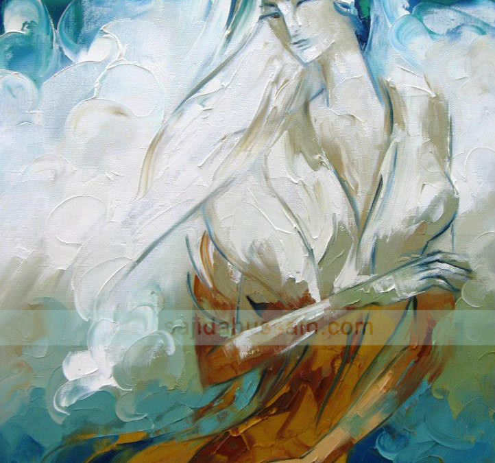 Figurative palette knife oil painting on canvas