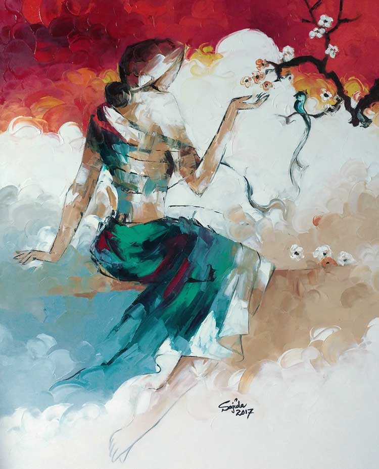 Abstract Art Figurative Oil Painting on canvas by Pakistan fine artist Sajida Hussain in palette knife technique